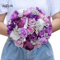 Silk Wedding Flower Artificial Rose Bouquet Bridesmaid Bouquets Roses 3PCs SET Purple Accent Brooch Bridal Bouquet 2018