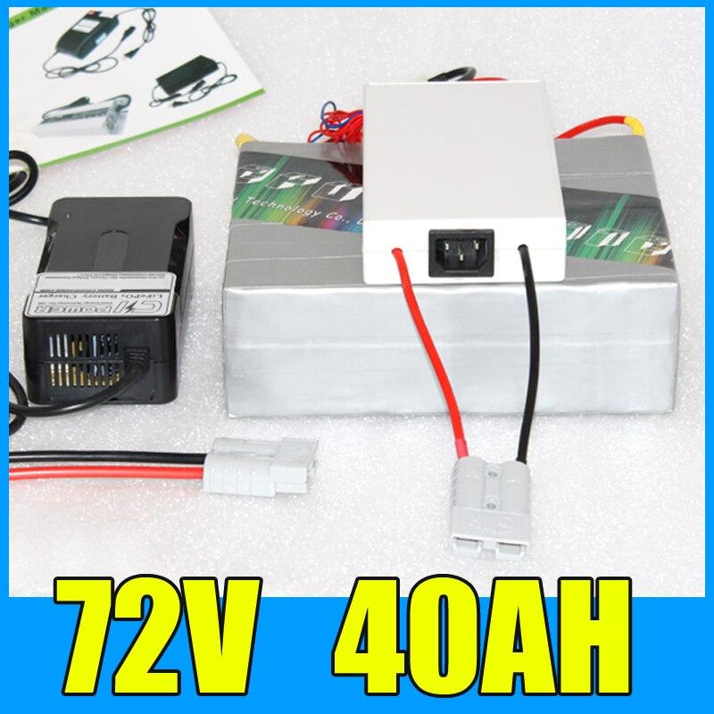 72 V 40AH Batterie Au Lithium Pack, 84 V 3000 W vélo Électrique Scooter solaire d'énergie Batterie, livraison BMS Chargeur Gratuite