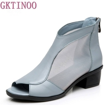 fashion women's genuine leather summer shoes open toe sandals lace net boots thick heel mujer sandals gladiator gauze size 35-41