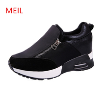 Size 35-42 Women Sneakers Thick Bottom Denim Wedge Female PU+Canvas Shoes Women Sneakers Platform Breathable Zipper Casual Shoes jad spo 108 bicycle breathable pu shoes silver size 42