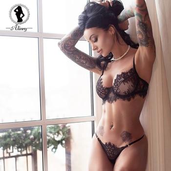ALINRY sexy bra set lace transparent push up women lingerie bralette seamless thong panties wire free thin underwear lenceria