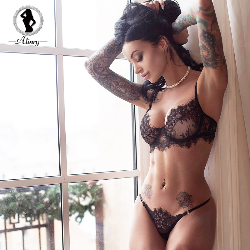 Alinry Sexy Bra Set Lace Transparent Push Up Women -2401