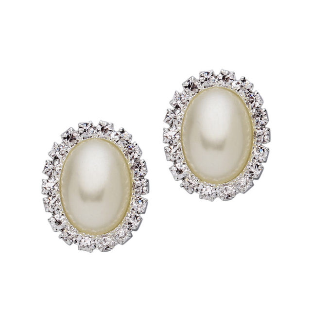 10pcs Lot 19mmx24mm White Oval Rhinestone Crystal Flat Back Imitation Pearl Beads Sbook Craft Decoration