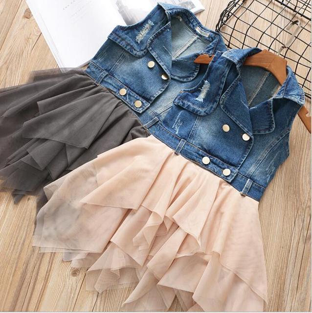 e9c78127d2 Girls denim dress spring costume for kids girls jeans shirt dress boutique  Korean tutu dress for child 2 8Yrs-in Dresses from Mother   Kids on ...