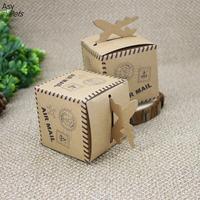 LumiParty 50 Pcs Creative Retro Airplane Pattern Christmas Birthday Kraft Paper Candy Boxes Wedding Gift Box