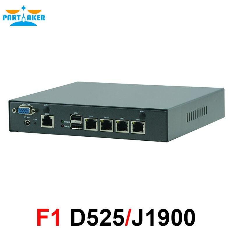 Intel атом D525 4 ядра J1900 маршрутизатор брандмауэра мини компьютер 4 LAN мини маршрутизатор сервер с Intel 82583 В Чипсет