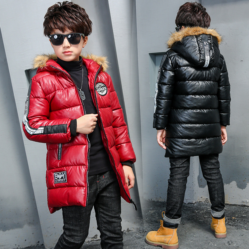 Children Outerwear Boys Winter Jackets Coat Joker Kids Overcoat Long Sleeve Slim Fashion Pu Down Feather Cotton-padded Clothes boys fleece jackets solid coat kid clothes winter coats 2017 fashion children clothing