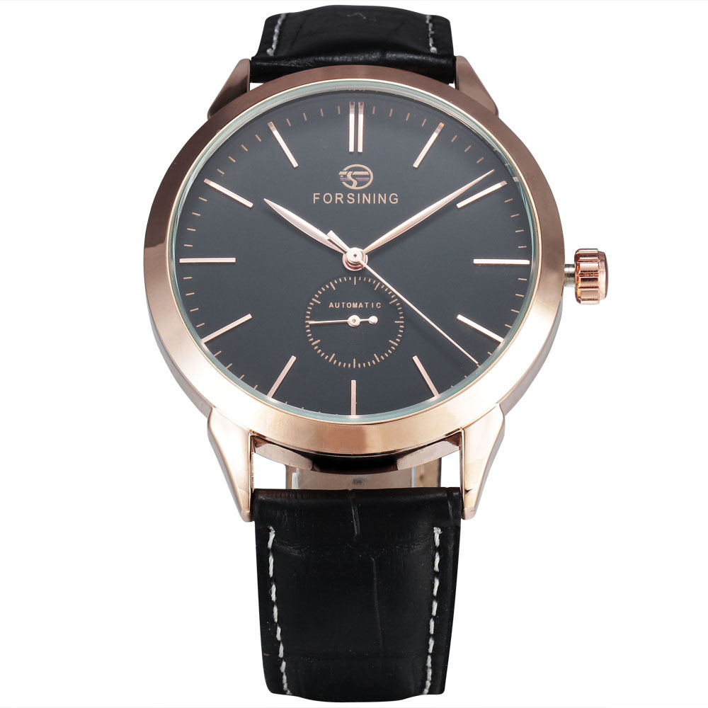 FORSINING Simple Designer Luxury Watch Rose Gold Case Mens Watches Top Brand Luxury Automatic Mechanical Watch Clock Men Montre forsining tourbillon designer month day date display men watch luxury brand automatic men big face watches gold watch men clock