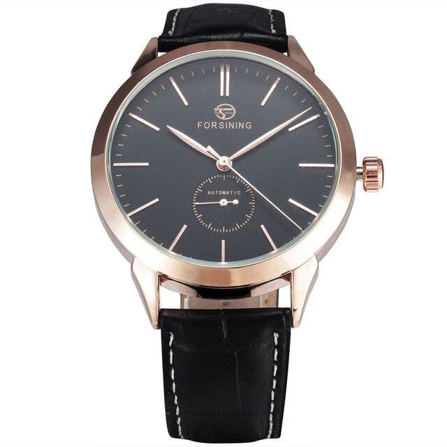 13c23d8e0bd FORSINING Simples Designer De Relógios De Luxo Subiu Caso de Ouro Mens Relógios  Top Marca de