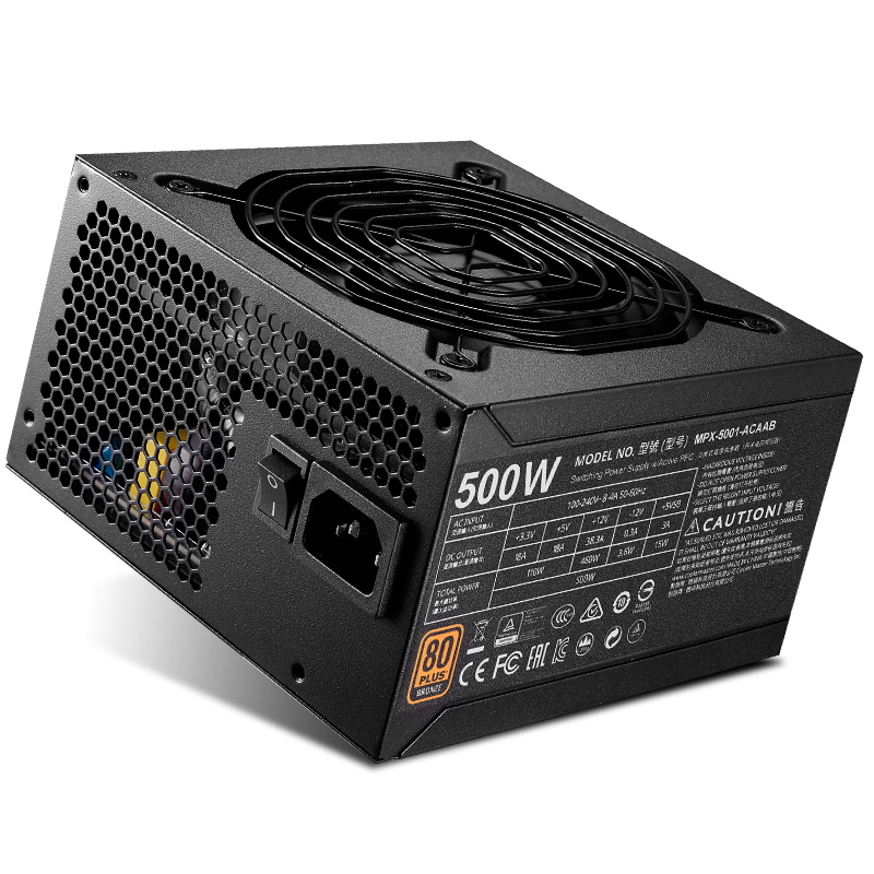 Cooler Master Non-module Rated 500W Computer Power supply Input Voltage 200~240V 80PLUS Safety Certification Office Game PC PSU цена