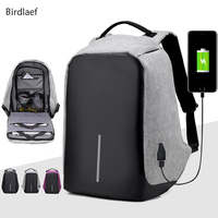 Birdlaef Canvas Men Backpack Anti Theft With Usb Charger Laptop Business Unisex Knapsack Shoulder Waterproof Women
