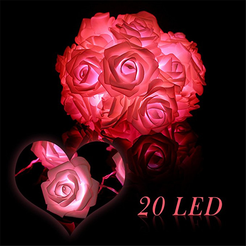 BHomify 2M 20 Rose LED Fairy String Light Christmas Tree Ornaments Warm White Light Christmas Decorations For Home Xmas 2018