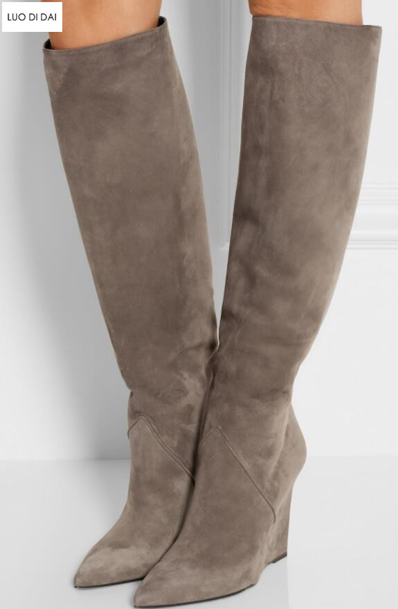 Parte Pic Cuero Cremallera Las Pic As Cuña Rodilla La as Tacón Mujeres Zapatos Tacones 2019 Botas De Moda Señoras Alto Hasta Gamuza qwTA181Sx