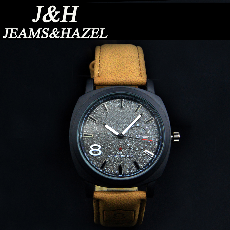 2016 JH Casual men Watches Brand Luxury Leather Men Military Wrist Watches Men Sports Quartz Watch