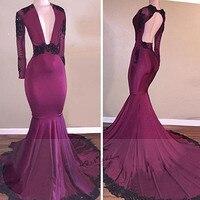 Sexy Long Sleeve Evening Dresses Mermaid Wine Black Lace Deep V Neck African Prom Dress 2018 Vestidos fe Festa Sweep Train Beads