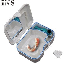 Dientes falsos 1pc White Denture False Teeth Storage Box Case With Mirror and Clean Brush Dental Appliance H30423(China)