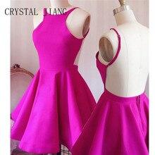 CRYSTAL JIANG Homecoming Dresses Fuchsia Satin Halter A Line Vestidos de festa curto Sexy Back Cheap Short 2018