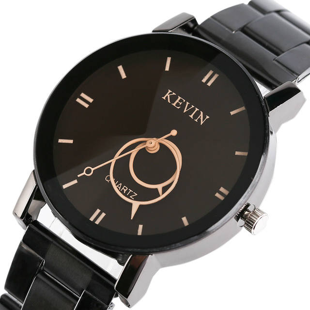 03c72ed5a883 Kevin mujer relojes pulsera moda negro dial acero inoxidable de cuarzo reloj  para hombre Relogio masculino