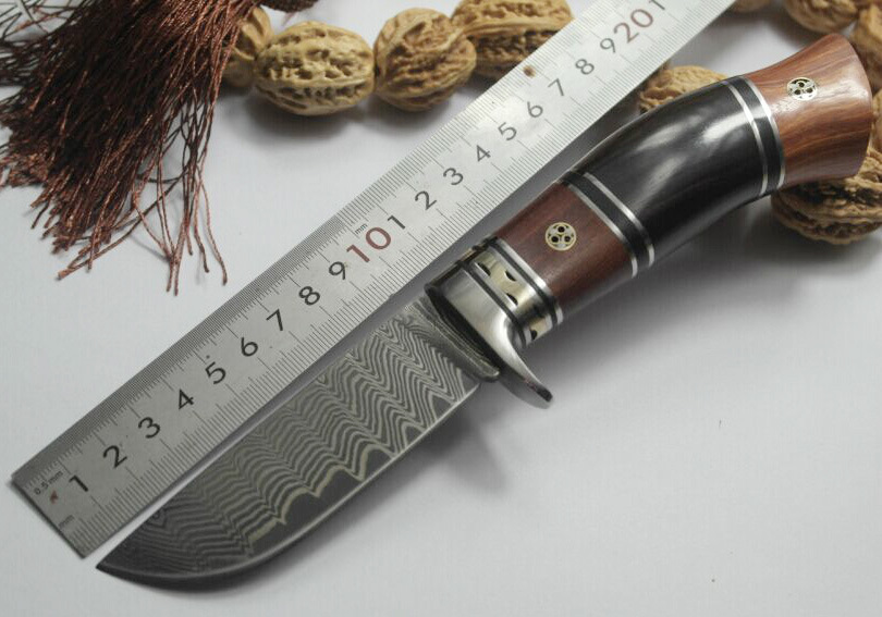 2016 New outdoor Damascus steel straight knife for outdoor survival collection multi-purpose knife hand knife material of VG-10 2016 hot the classic small straight knife material 440c outdoor survival survival knife gift collection process tactical tools