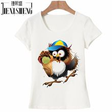 100% Cotton Women T Shirt owl captain Printed Fashion Design T-Shirt Women Brand New Slim Fitness Tshirt Women Clothes HH261