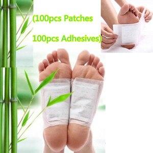 Image 1 - 200pcs=(100pcs Patches+100pcs Adhesives) Kinoki Detox Foot Patches Pads Body Toxins Feet Slimming Cleansing HerbalAdhesive smrp