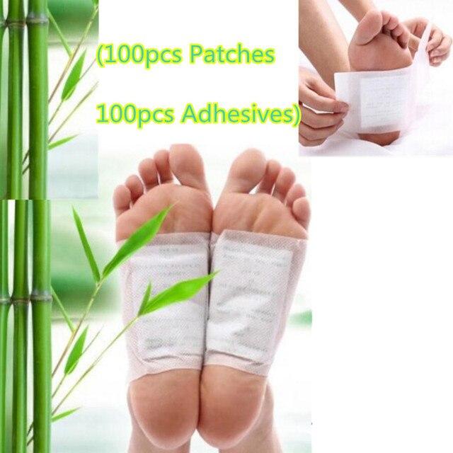 200pcs=(100pcs Patches+100pcs Adhesives) Kinoki Detox Foot Patches Pads Body Toxins Feet Slimming Cleansing HerbalAdhesive smrp
