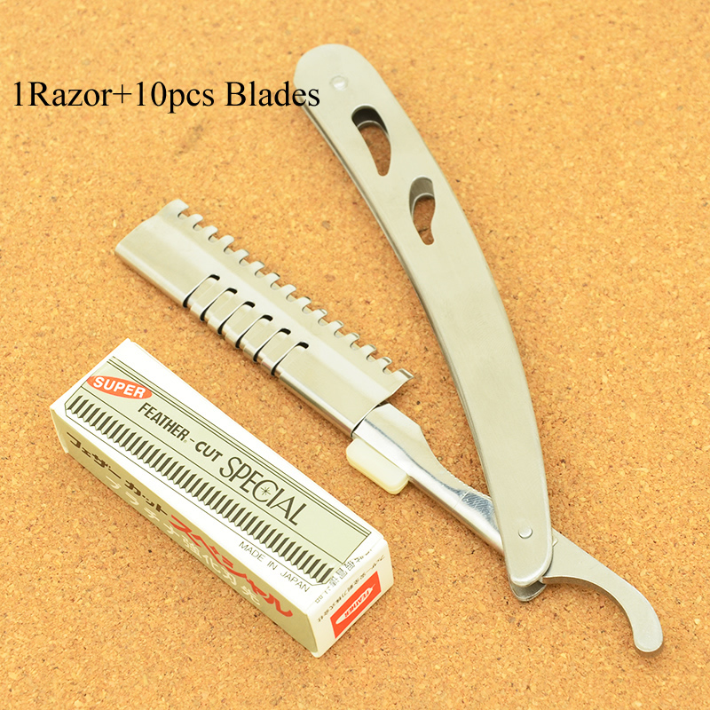 Meisha 1Pcs Hair Razors&10pcs Blades Hair Barbers Razors Hairdressing Cutting Razor Stainless Steel Folding Shaving Knife HC0003