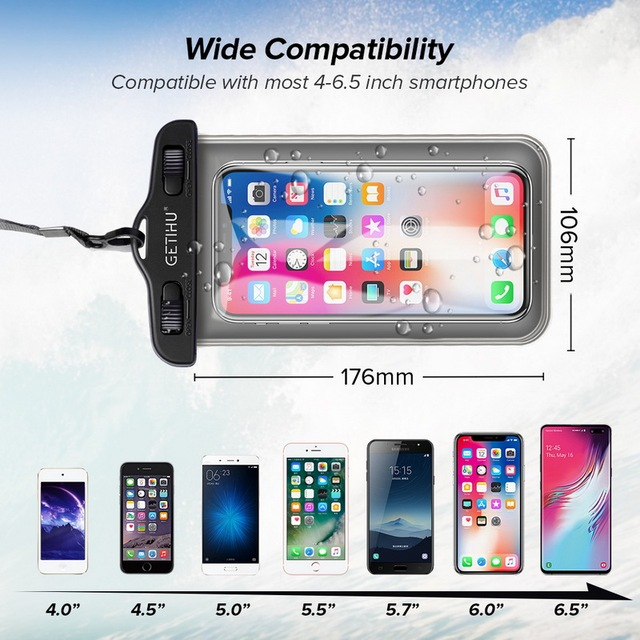 Universal Waterproof iPhone Case + Cover Pouch Bag  For X XS MAX 8 Plus  4