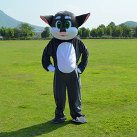 Enjoyable Gray TOM Cat Kitten Mascot Costume Cartoon Character Mascotte Adult Pink Nose Palms Wronged Expression
