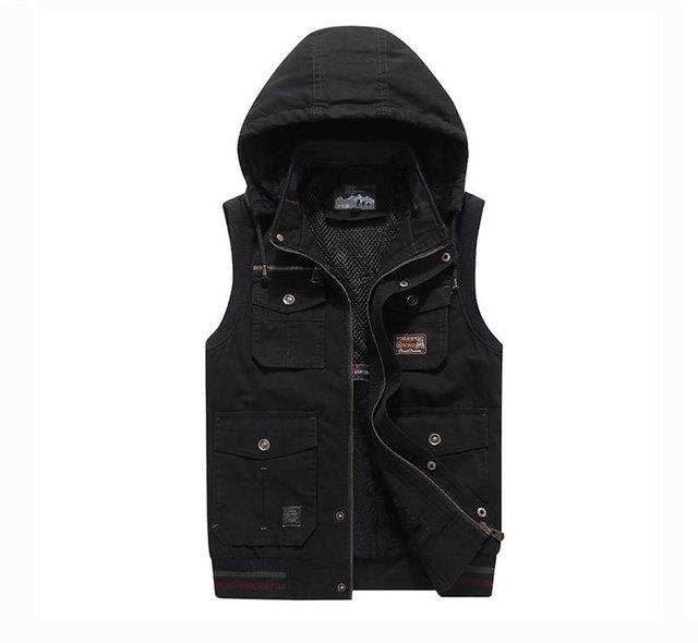 Plus Size Sleeveless Fleece Jackets Cotton Vest Waistcoats 6XL 7XL 8XL 9XL Hooded Collar Casual Cargo Military Tanks Business