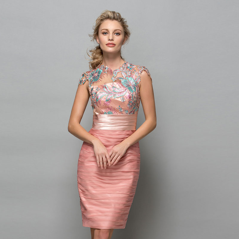 c8ad60b236ab Tanpell scoop cocktail dress lace appliques ruched knee length sheath gown  women party formal custom sheath cocktail dresses ...