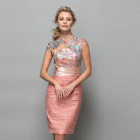 Tanpell scoop cocktail dress lace appliques ruched knee length sheath gown women party formal custom sheath cocktail dresses