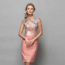 Tanpell scoop cocktail dress lace appliques ruched knee leng