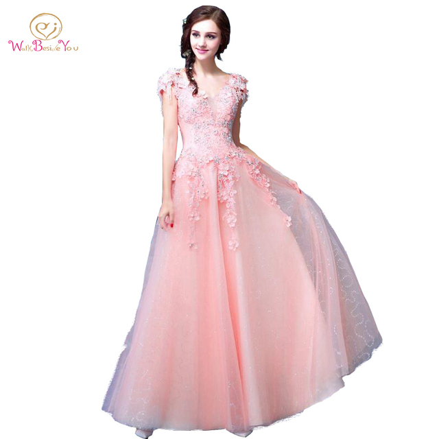 Blush Pink Prom Dresses A line Lace Beaded Crystal Short Sleeves ...