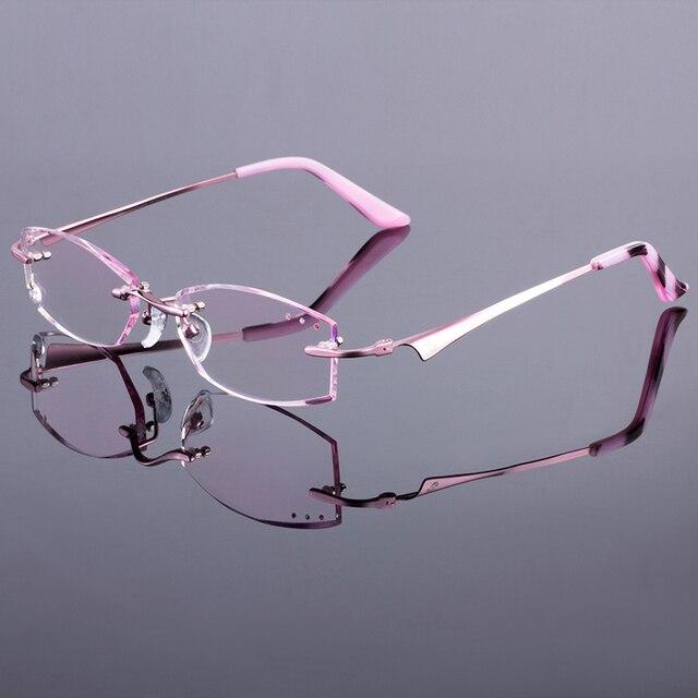 Розовый Женщины Без Оправы Кадров Женщины Titanium Сплава Оптически Рамка Алмаз Обрезки Вырезать Очки Без Оправы С Градиент Оттенок Линзы