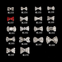 Sale !!1LOT /100PCS , RhinestonesTiny Bow Floating Charm Earrings Making Nail Art Decorations 2016 new fashion .