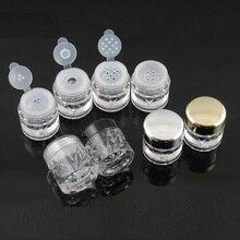 100 pcs 3G 느슨한 분말 Jars 와 체로 Mesh 빈 Diy 못 어필하는 큐빅 container 포장 case Black 캡 다이아몬드 모양 free shipping