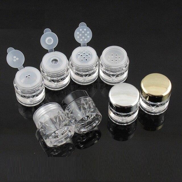 Botes para polvos sueltos 3G con tamiz de malla, recipiente brillante para uñas, color negro, 100 Uds., envío gratis