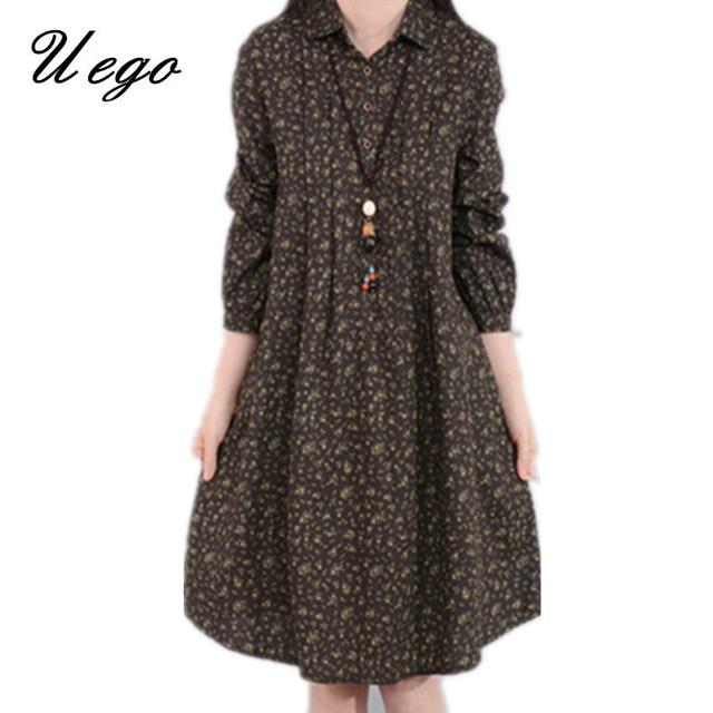 2d5f75298dfd1 2019 Fashion Turn-down Collar Button Shirt Dress Vintage Print Floral  Cotton Linen Women Dress