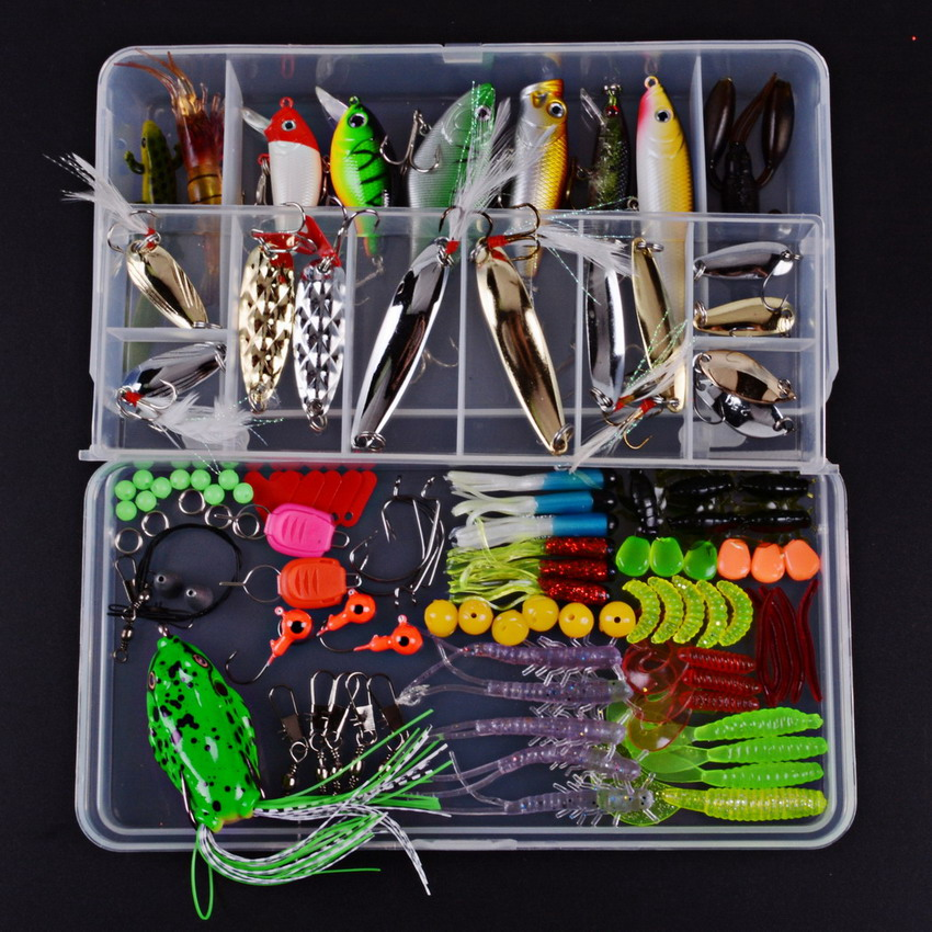 Fishing Lure Kit Metal Lure Soft Bait Plastic Lure Wobbler Frog Lure With Fishing Tackle Box Worm Jig Head Hook fishing lure kit metal lure soft bait plastic lure wobbler frog lure free shipping