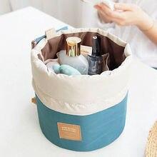 Новое поступление, косметичка для путешествий в форме бочки, нейлоновая сумка, большая вместительность, на шнурке, элегантные мешки для мытья барабана, органайзер для макияжа, сумка для хранения