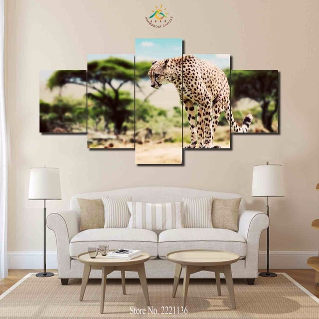 3 4 5 Panels/set African Cheetah HD Printed Paint Home Decoration Living