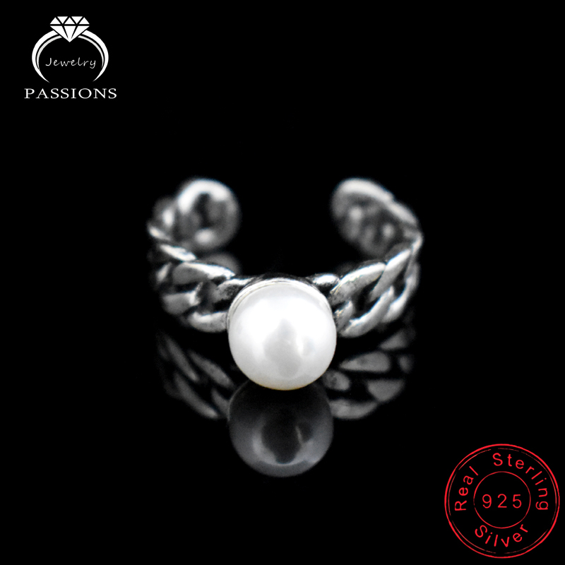 New Fashion Antique Silver Plate Twist Weave Open Wide Adjustable Ring Simulated Pearl Ring Vintage Ring For Women Bague Anillos