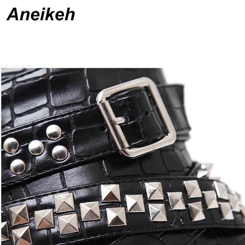 US $35.14 36% OFF|Aneikeh Zip Metall Ketten Niet Motorrad Stiefel Frauen Schuhe Super High Heels Plattform Stiefeletten Punk Rock Gothic Biker