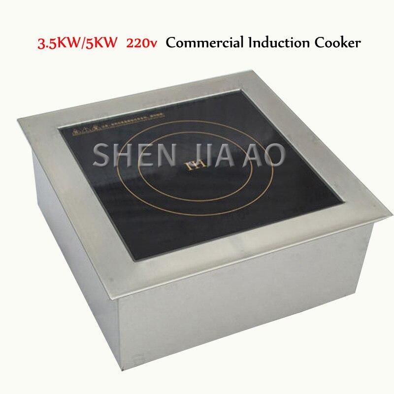 Fogão de Indução de Alta Panelas de Indução Forno de Sopa Fogão de Indução Potência de 5kw Plana v Comercial Cozinha Quente Máquina 1 pc 3. – 5kw 220