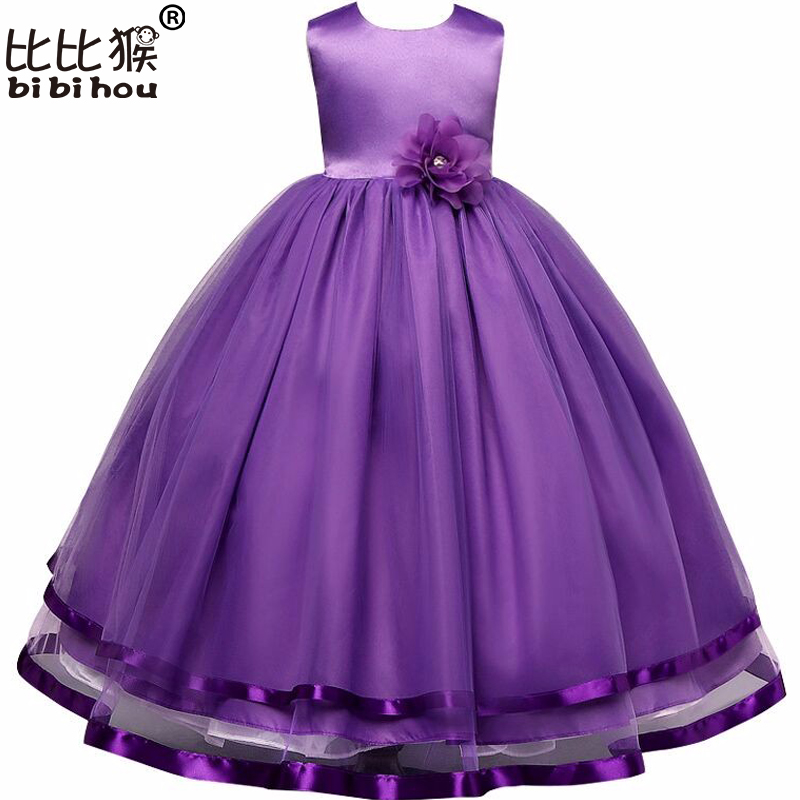 Bibihou Gir Party Costume For Children Princess Wedding Dress Girls Ceremonies Long Flower Bow Dresses Formal Vestidos Purple girls europe the united states children princess long sleeved purple lace flower dress female costume kids clothing bow purple