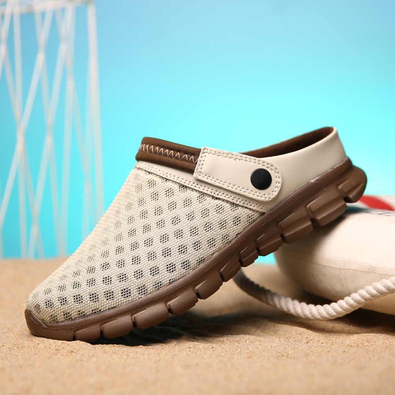 Yaz erkek sandalet renkli çiftler plaj ayakkabısı nefes konfor örgü kalın alt terlik adam Baotou delik ayakkabı büyük 35-46