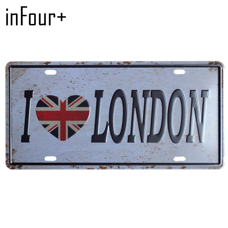[inFour+] I Love LONDON Plate Metal Plate Car Number Tin Sign Bar Pub Cafe Home Decor Metal Sign Garage Painting Plaques Signs