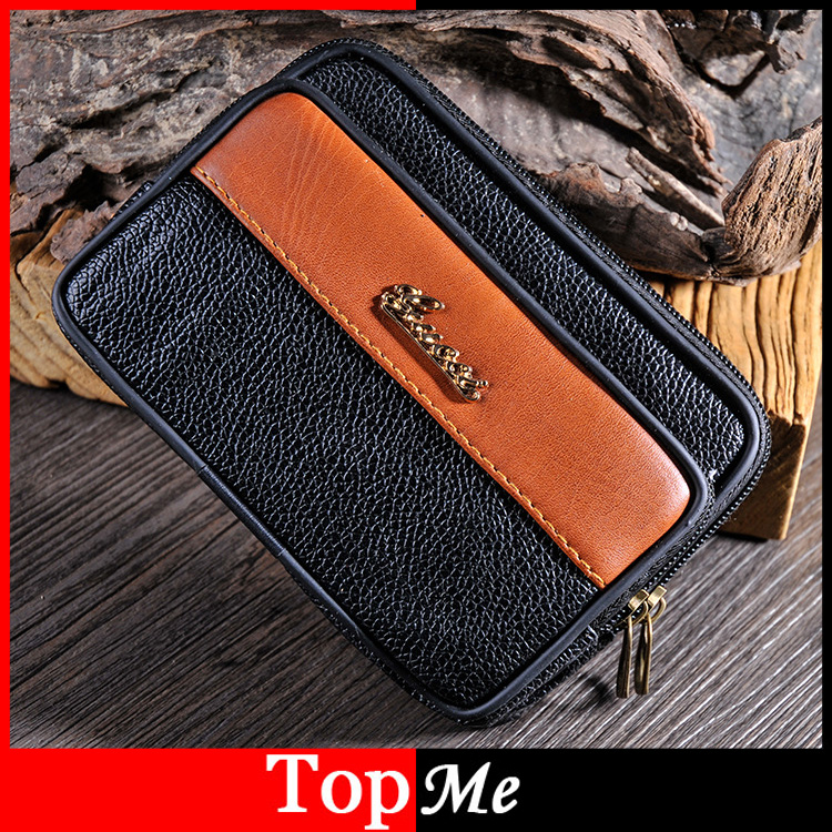 Men Fanny Pack Zipper Coin Purse Brown Black PU Leather Burse Male Pockets Good Quality Phone Bag Casual Waist Packs Man's Bags