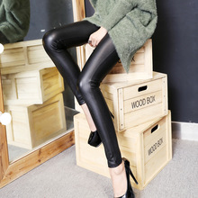 New Winter Grinding Fur High Waist Pants Plate Crystal Women Leather Pants Female Skinny PU Leggings